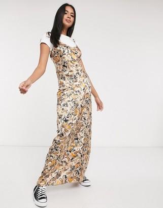 Neon Rose maxi cami slip dress in paisley print satin