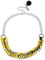 Kenneth Cole New York Necklace, Silver-Tone Double Row Yellow Ring Frontal Necklace