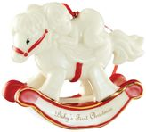 House of Fraser Belleek Living Babys first christmas rocking horse ornament