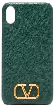 Valentino V Logo Leather Iphone Xs Max Case - Womens - Green