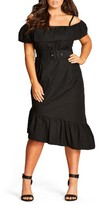 City Chic Plus Size Women's Saloon Baby Cold Shoulder Dress