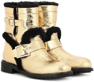 Jimmy Choo Youth fur-lined leather ankle boots