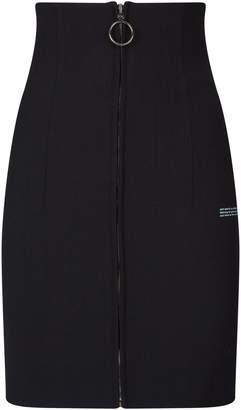 Off-White Off White Zip-Front Slogan Mini Skirt