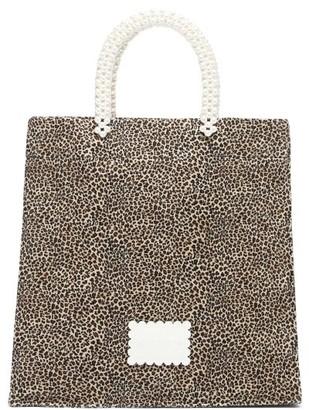 Shrimps Basil Faux-pearl And Leopard-print Canvas Tote Bag - Leopard