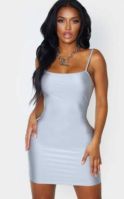 PrettyLittleThing Shape Silver Disco Strappy Straight Neck Bodycon Dress