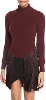 Thierry Mugler Turtleneck Sweater w/Fringed Sides, Burgundy