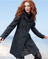 Anne Klein Coat, Boucle Wool-Blend Hooded Walker