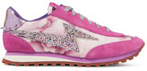 Marc Jacobs Astor Embellished Printed Canvas, Leather And Suede Sneakers - Fuchsia