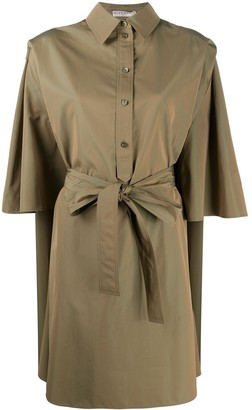 Givenchy Cape Style Half-Sleeve Belted Dress