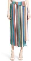 Diane von Furstenberg Women's Stripe Asymmetrical Overlay Midi Skirt