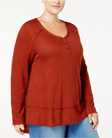 Style&Co. Style & Co Plus Size Henley High-Low Top, Created for Macy's