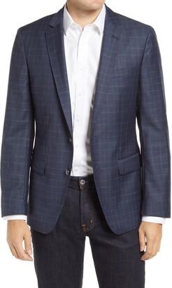 HUGO BOSS Hartlay Trim Fit Glen Plaid Wool Sport Coat