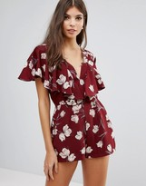 Love Frill Detail Printed Playsuit