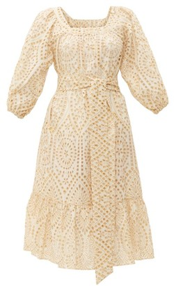 Lisa Marie Fernandez Laure Broderie-anglaise Cotton Dress - Womens - Ivory