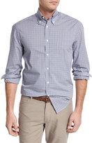 Brunello Cucinelli Check Pocket Sport Shirt, Blue/Brown