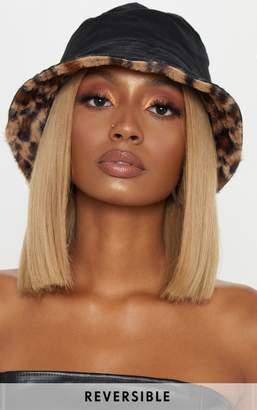 PrettyLittleThing Leopard Faux Fur Reversible Bucket Hat