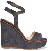 Paul Andrew Laura Leather-Trimmed Denim Wedge Sandals