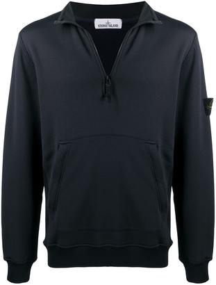 Stone Island Logo-Patch Zip-Up Sweatshirt