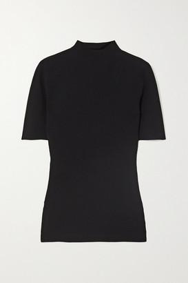 Theory Leenda Ribbed-knit Top - Black