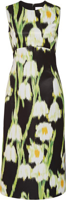 Carolina Herrera Floral-Print Satin Midi Dress