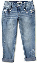 Jessica Simpson Big Girls 7-16 Monroe Embroidered Cuffed Boyfriend Jeans