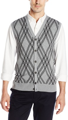 Haggar Men's Exploded Argyle Button Front Sweater Vest