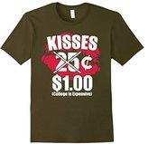 Women's Kisses 25 Cents Funny Valentines Day TShirt for Boys & Girls Medium