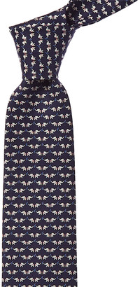 Salvatore Ferragamo Navy Elephant Print Silk Tie