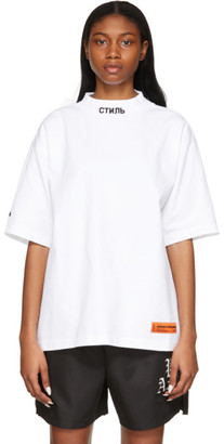 Heron Preston White Style Mock Neck T-Shirt