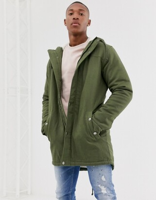 ONLY & SONS parka with fleece lined hood in green