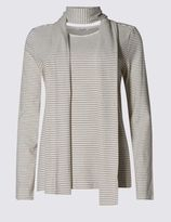 Marks and Spencer Striped Long Sleeve Jersey Top with Scarf
