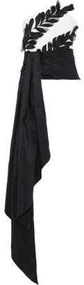 Oscar de la Renta Strapless Two-tone Embellished Silk-faille Bustier Top