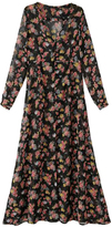 Black Floral Single-breasted V-neck Chiffon Maxi Dress