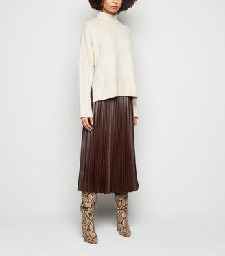 New Look Coated Leather-Look Pleated Midi Skirt