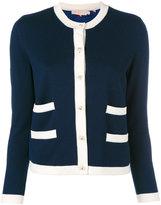 Tory Burch contrast trim cardigan - women - Silk/Cotton/Merino - L