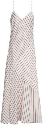 Nicholas Paneled Striped Satin-crepe Maxi Slip Dress