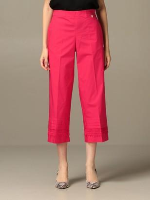 Twin-Set Wide Trousers In Poplin With Macrameacute;