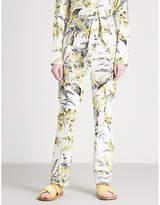 Diane von Furstenberg Printed flared high-rise stretch-cotton trousers