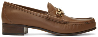 Gucci Brown Interlocking G Horsebit Loafers