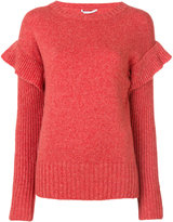 Agnona frill sleeve sweater - women - Polyamide/Camel Hair/Wool - 38