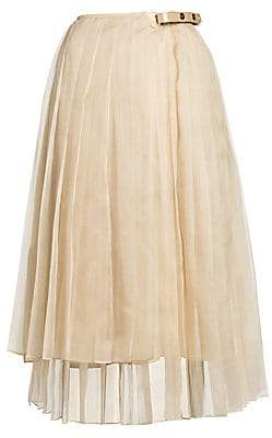 Fendi Women's Pleated Organza Asymmetric Wrap Skirt
