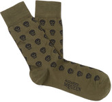Alexander Mcqueen - Skull-patterned Cotton-blend Jacquard Socks