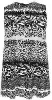 Yours Clothing YoursClothing Plus Size Womens Ladies Shirt Animal Print Sleeveless Zip Front