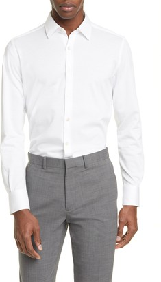 Canali Slim Fit Pique Dress Shirt