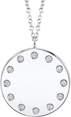 Ron Hami 14K White Gold Diamond Lady's Circle Pendant Necklace - 0.09 ctw