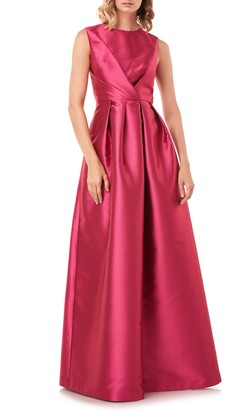 Kay Unger Josephine Pleated Satin Twill Ballgown
