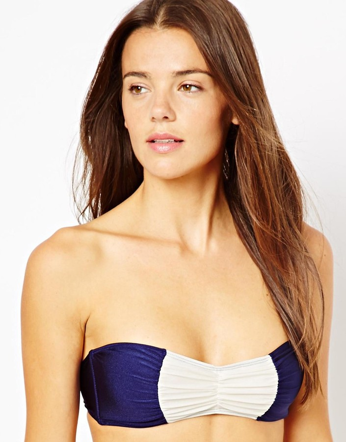Asos Contrast Ruched Front Bandeau Bikini Top - Multi