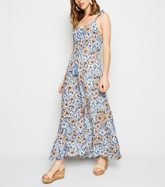 New Look Tropical Floral Button Up Maxi Dress