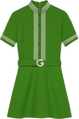 Gucci Striped-Trim Belted Dress