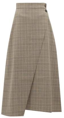Cefinn - High Rise Prince Of Wales Check Midi Skirt - Womens - Brown Multi